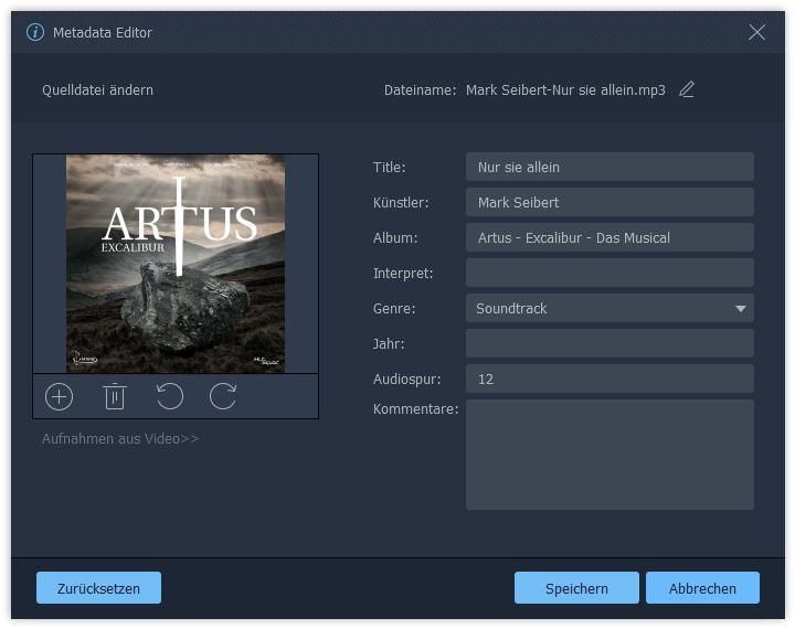 Audio Metadaten bearbeiten