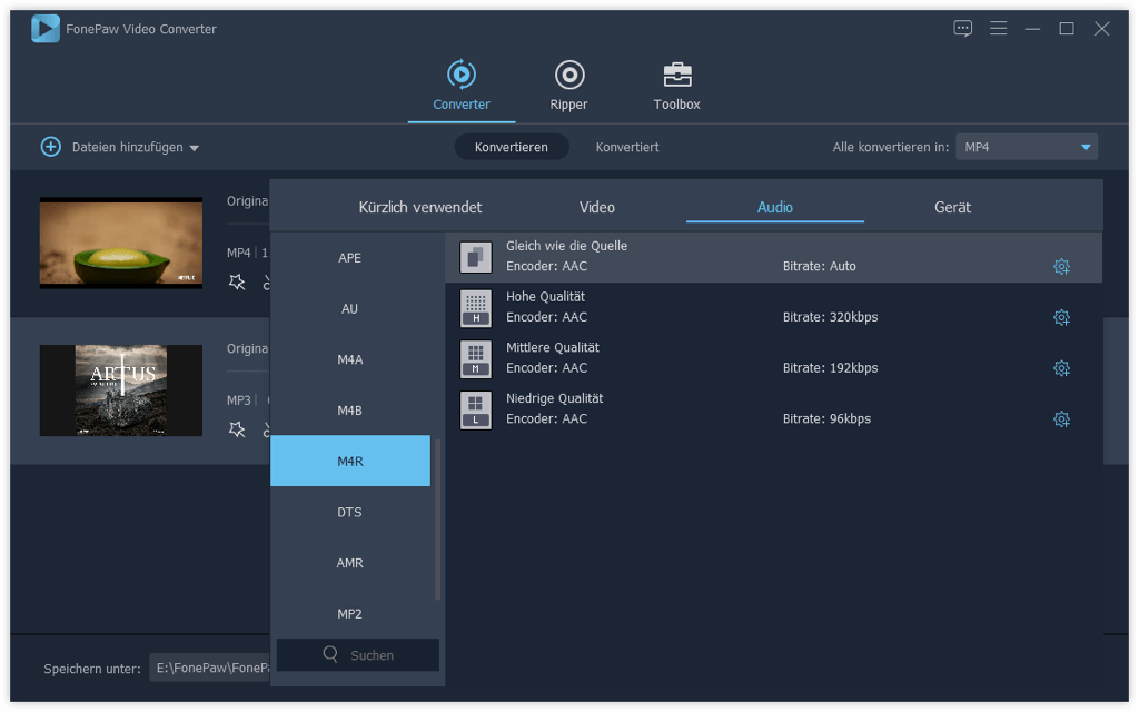 Allgemeine Audioformate M4R