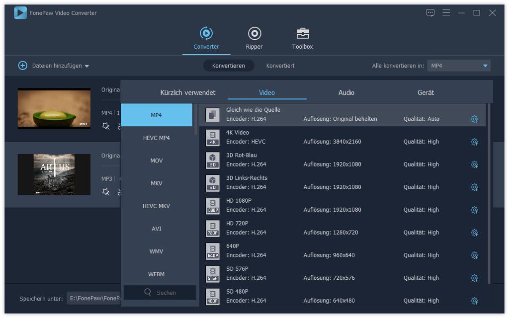 Allgemeine Videoformate MP4 FonePaw Video Converter