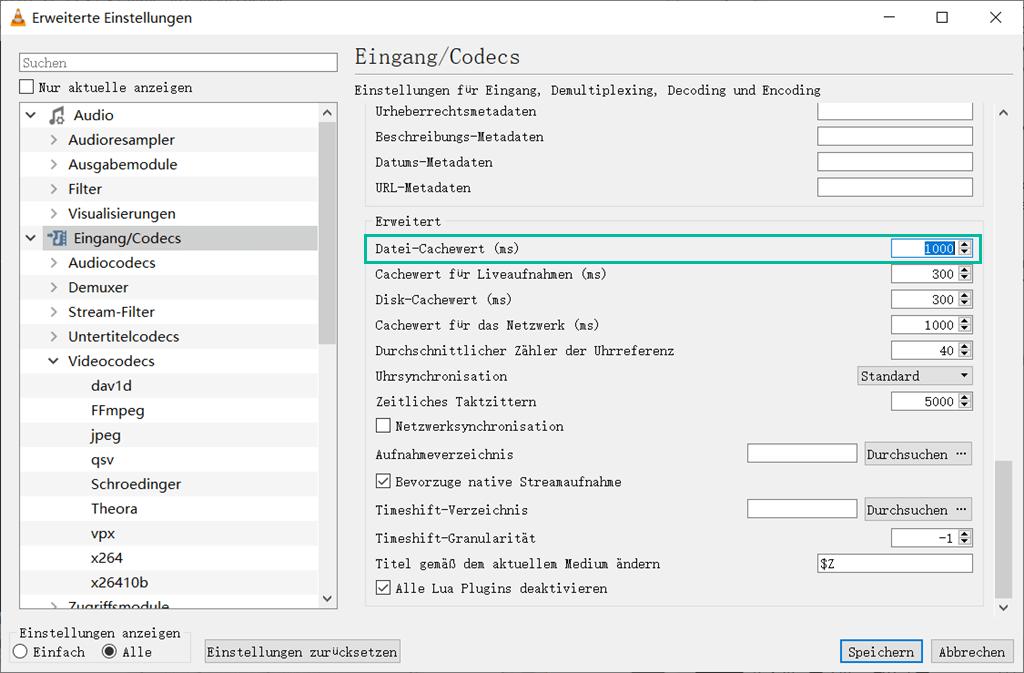 Datei-Cachewert einrichten VLC