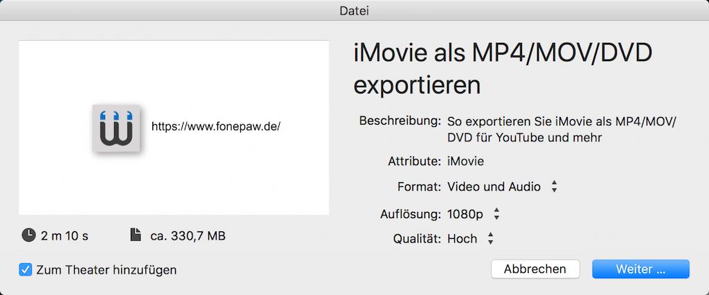 iMovie als MP4/MOV exportieren
