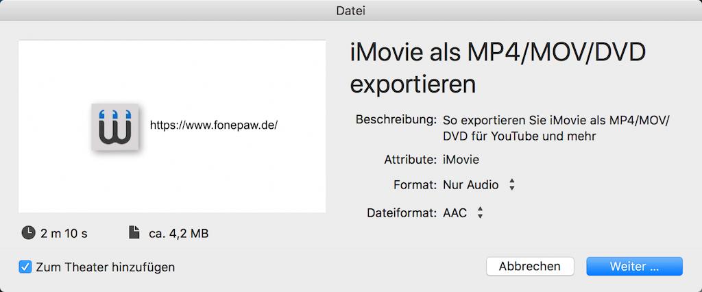 iMovie-Audio exportieren