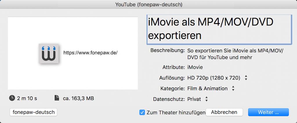 iMovie auf YouTube exportieren