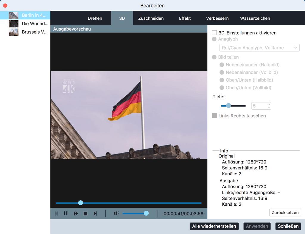 3D Video auf Mac bearbeiten