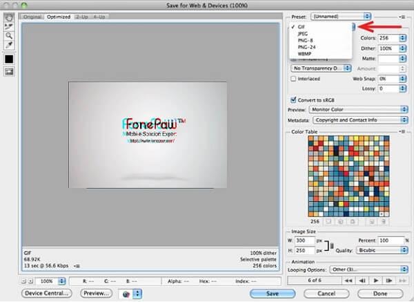 Photoshhop GIF speichern