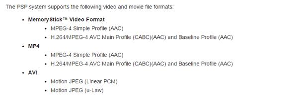 Kompatible Videoformate von PSP