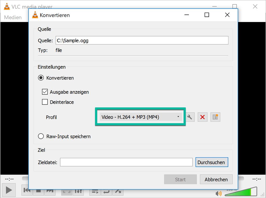 Ausgabeformat auswählen VLC