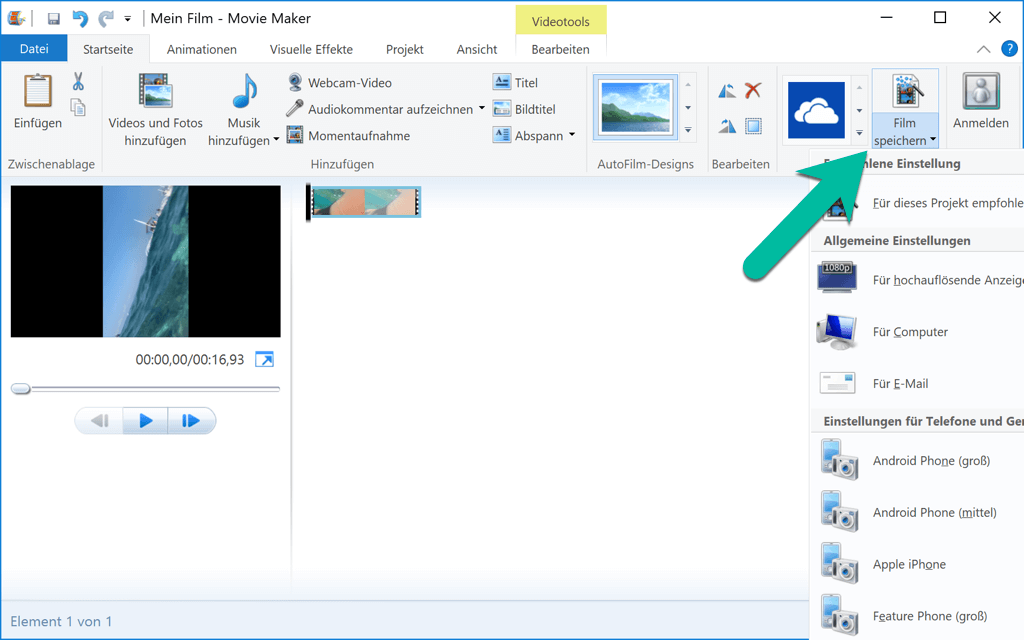 Windows Movie Maker Film speichern