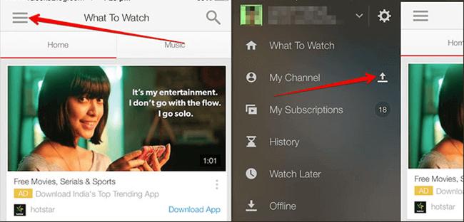 YouTube App Video hochladen